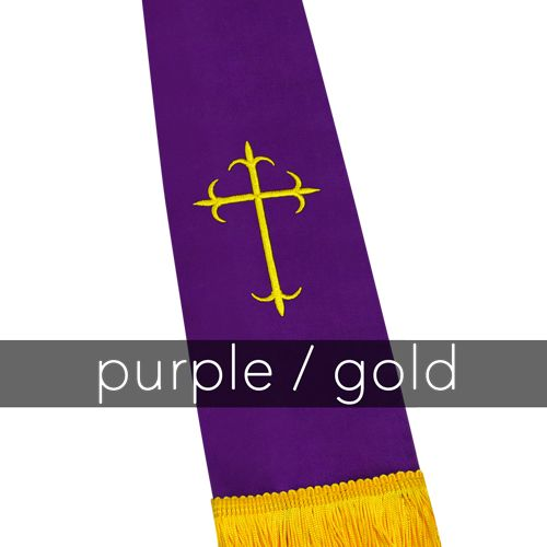 Clergy Stole - Purple Satin with Gold Latin Crosses