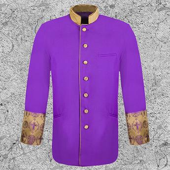 Men's Clergy Brocade Jacket Purple