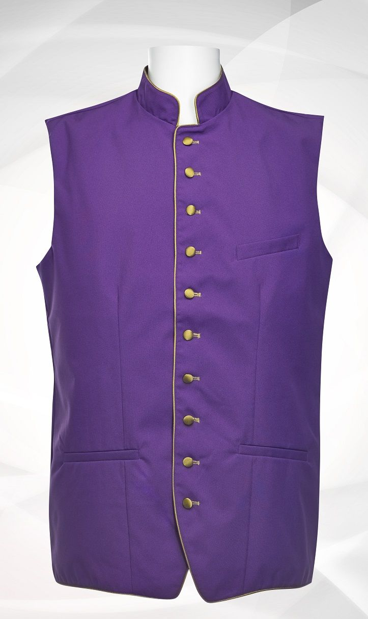 Men's Classic Clergy Vest - Purple/Gold