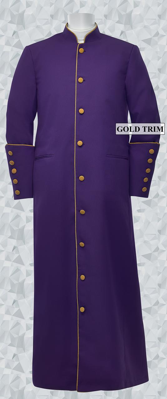 162 M. Men's Clergy/Pastor Robe - Purple/Gold Trim