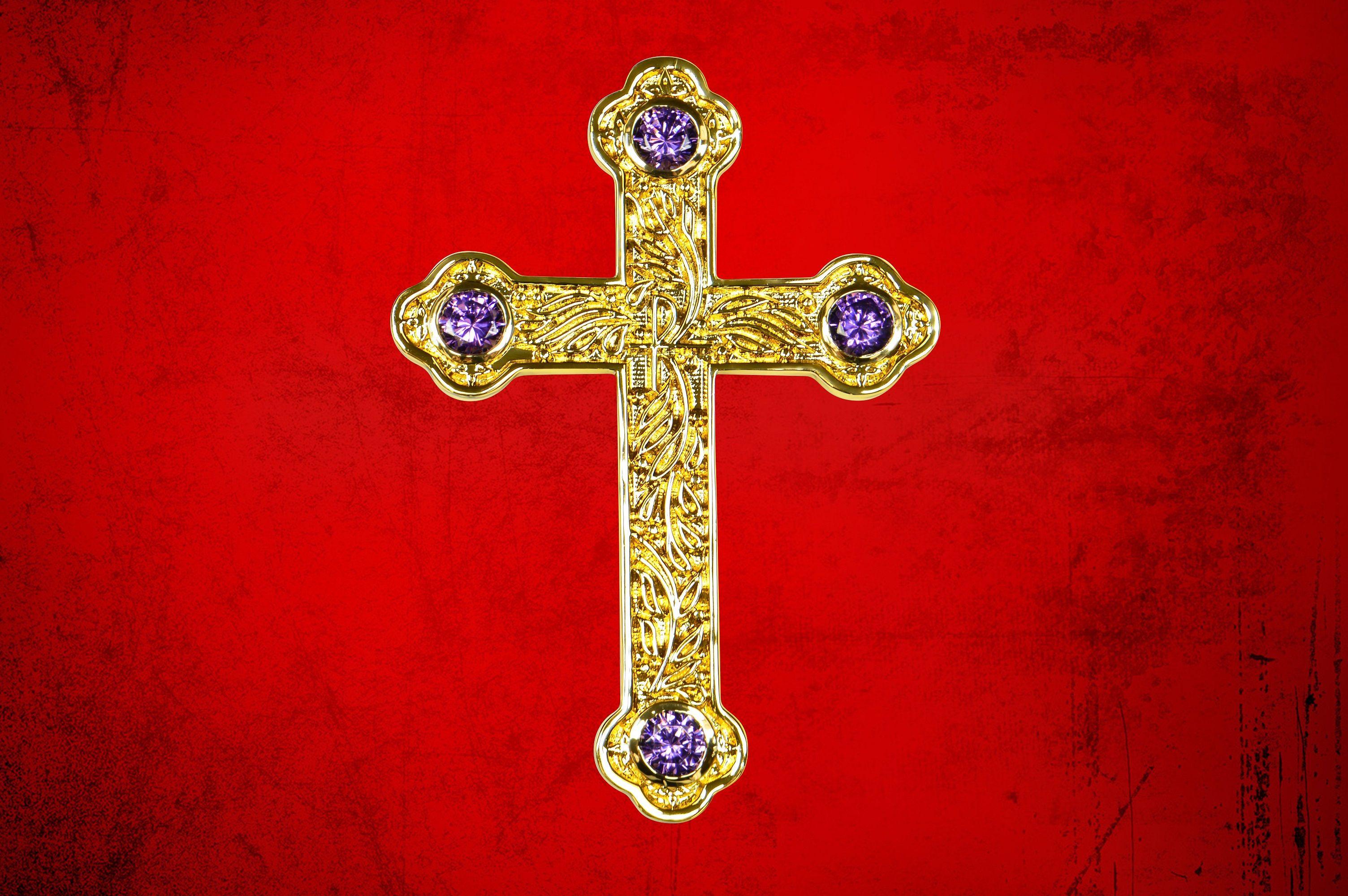 Bishop's Pectoral Cross in Gold with Purple Amethyst Stones