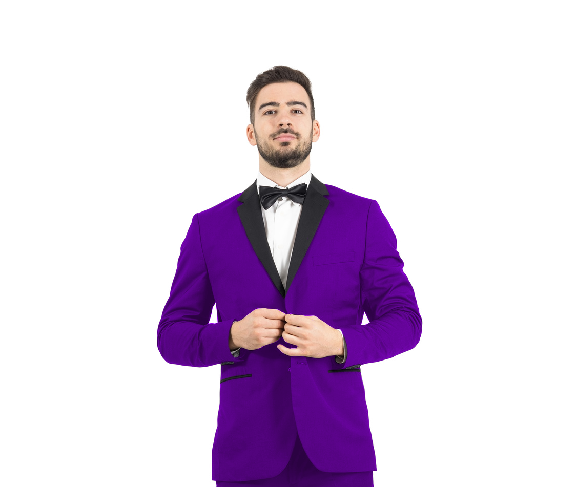 Purple Men's 2-Button Tuxedo - Purple with Black Lapel