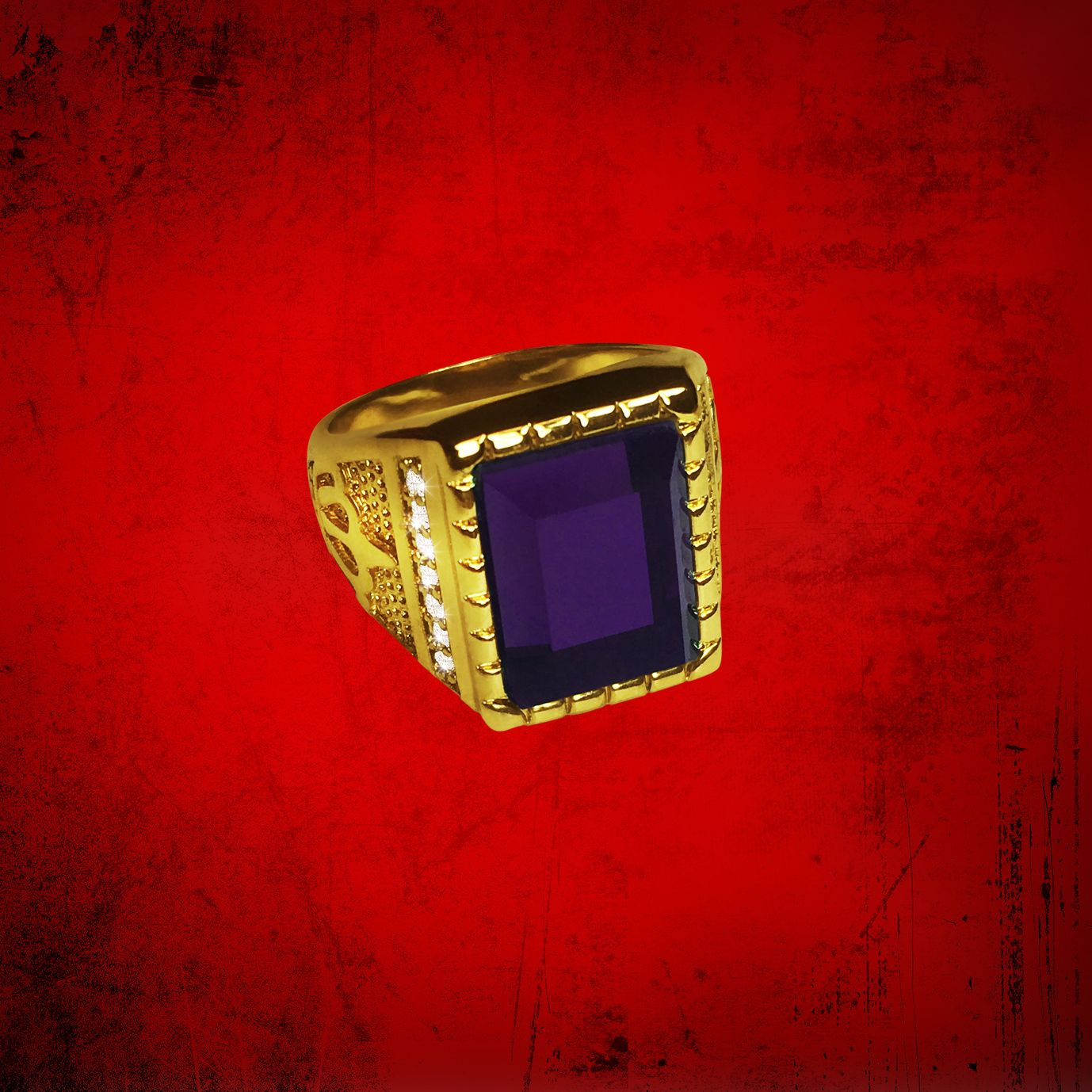 Mens Clergy Crown Ring with Deep Purple Stone