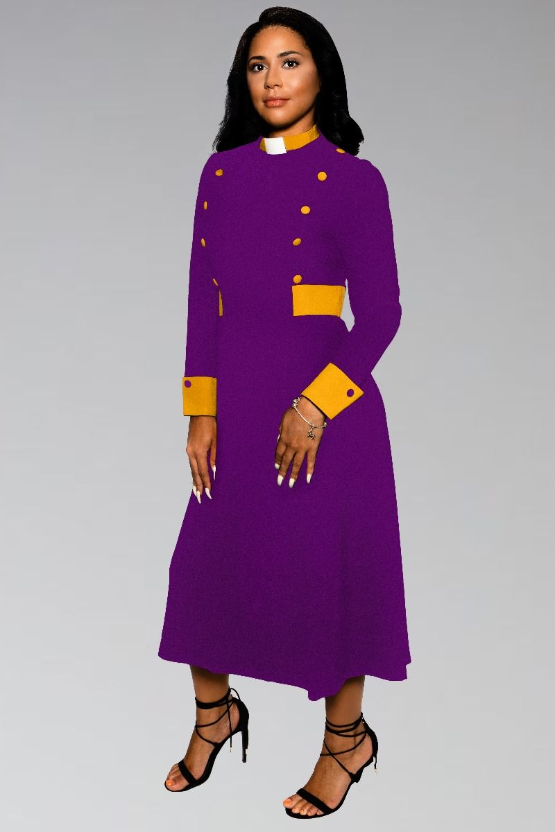 Female Clergy Dress in Purple with Gold Contrast