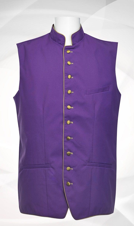 Men's Classic Clergy Vest - Purple/Gold