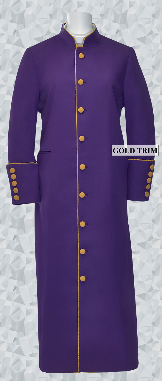162 W. Women's Clergy/Pastor Robe - Purple/Gold Trim