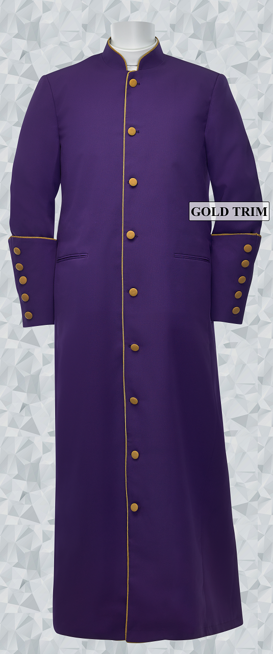 162 M. Men's Clergy/Pastor Robe - Purple/Gold Trim