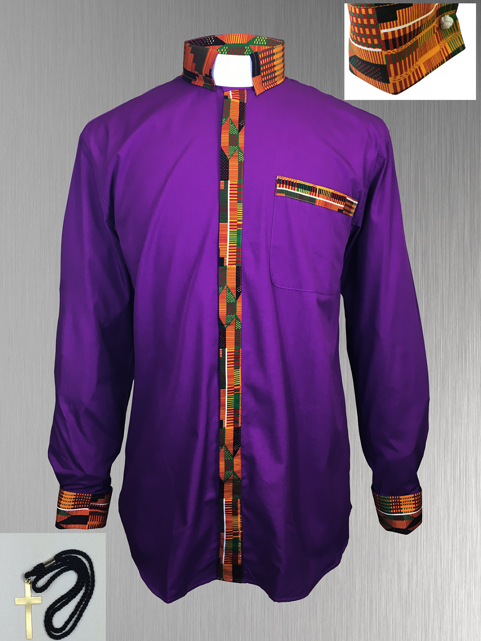 Purple Clergy Shirt with African Kente Cloth Fabric