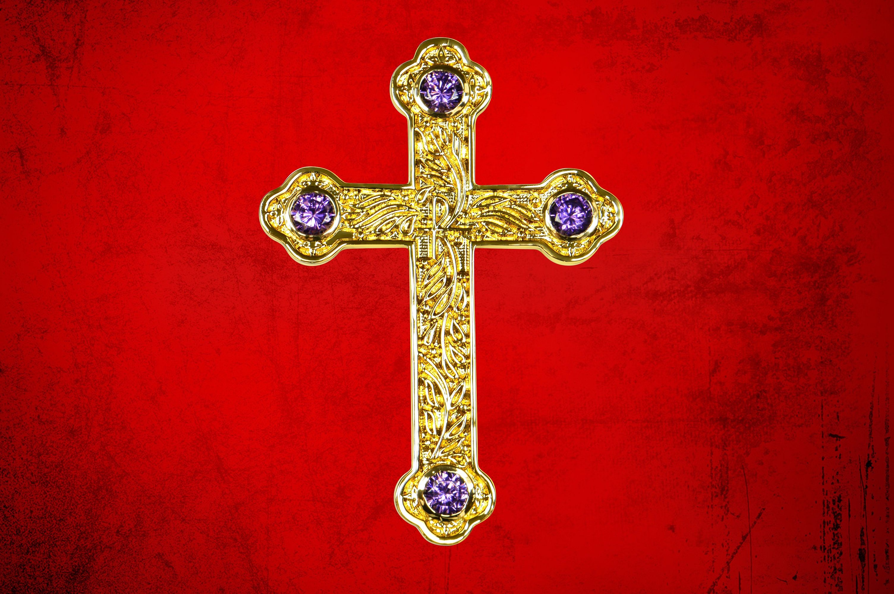 Bishop's Pectoral Cross in Gold with Purple Amethyst Stones