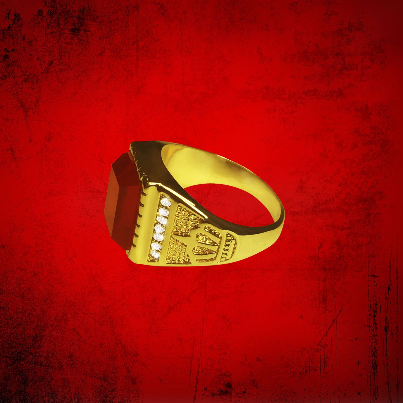 Mens Clergy Crown Ring with Deep Red Stone