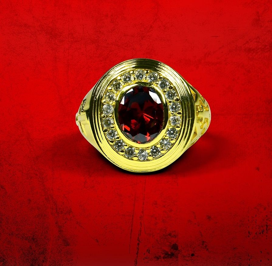 Mens Premium Apostle Ring with Red Stone - Gold w/ Red