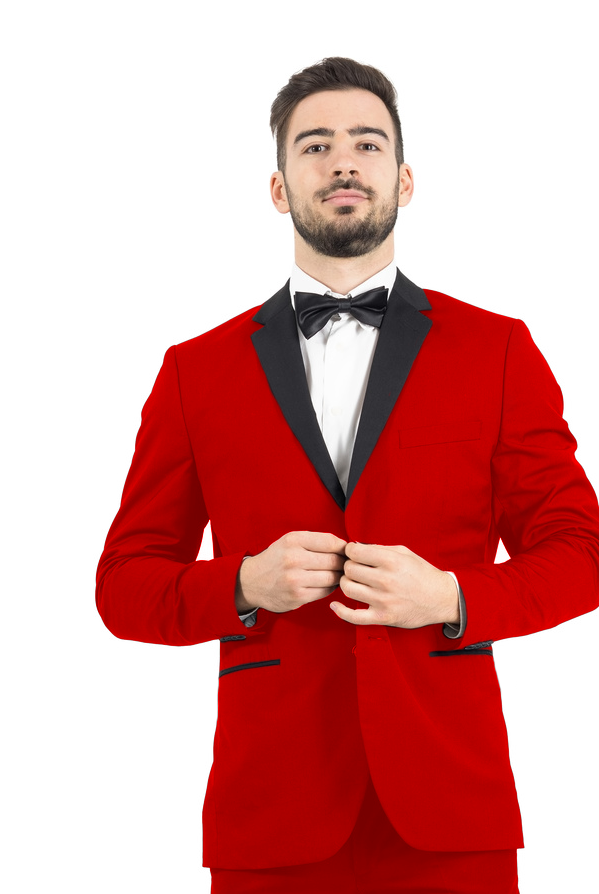 Red Men's 2-Button Tuxedo - Red with Black Lapel