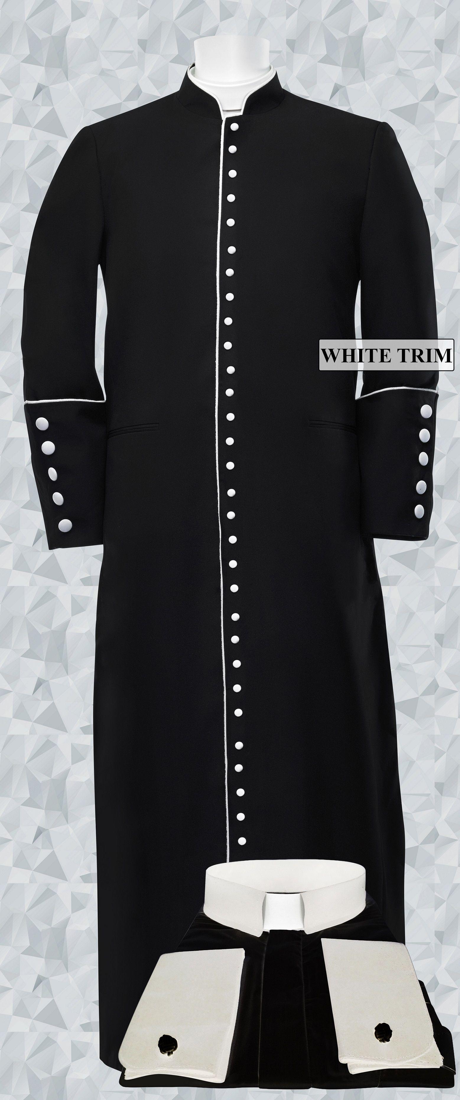 251 M. Men's Roman Cassock & Custom Shirt Package Black/White