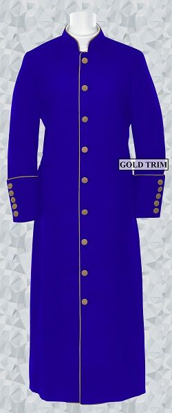 152 W. Women's Clergy/Pastor Robe - Royal/Gold Trim