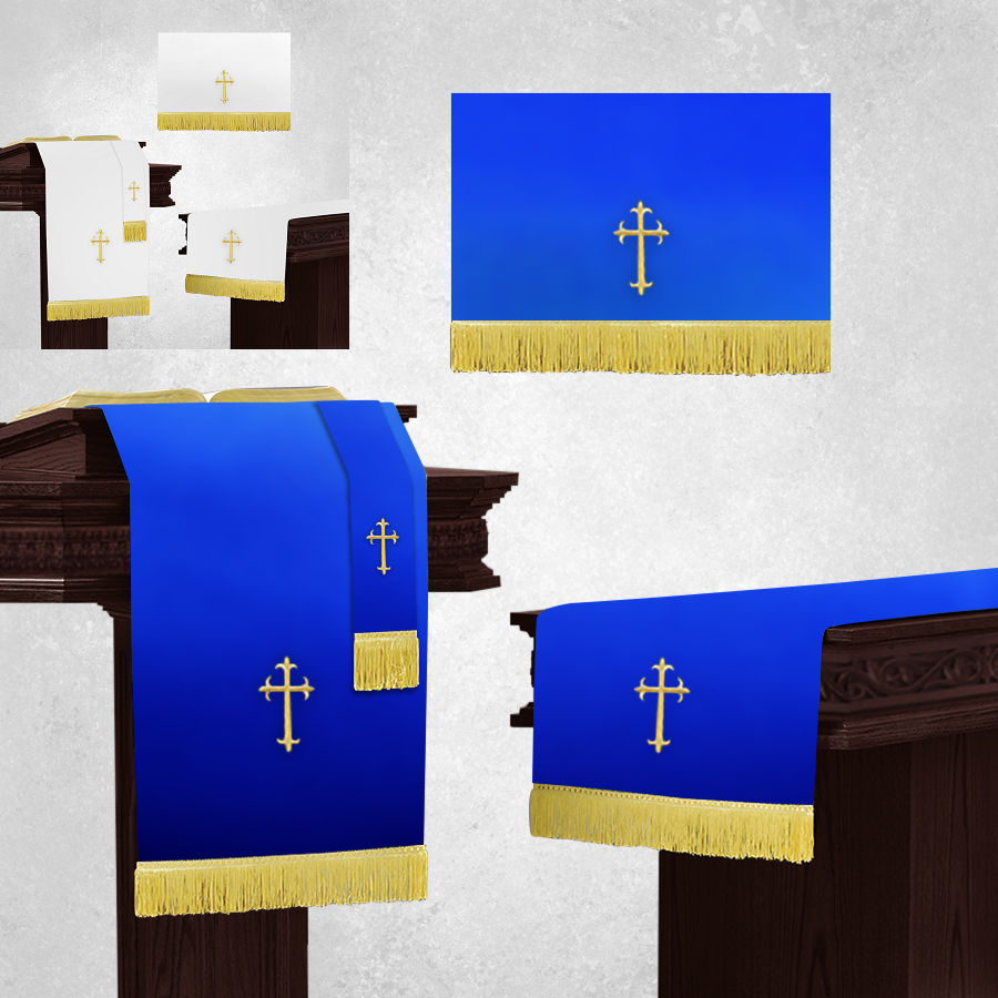 Reversible White and Royal Blue Church Parament Set