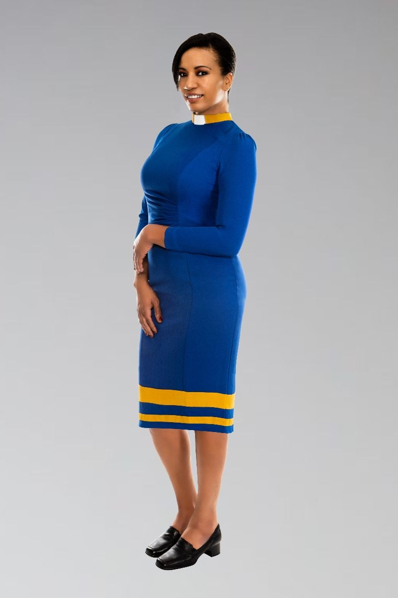 House Clergy Female Dress in Royal and Gold
