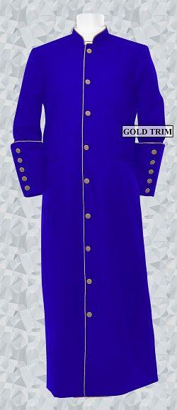 152 M. Men's Clergy/Pastor Robe - Royal/Gold Trim