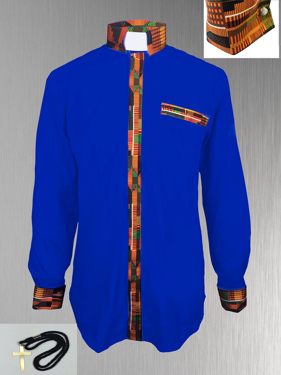 Royal Blue Clergy Shirt with Kente Cloth