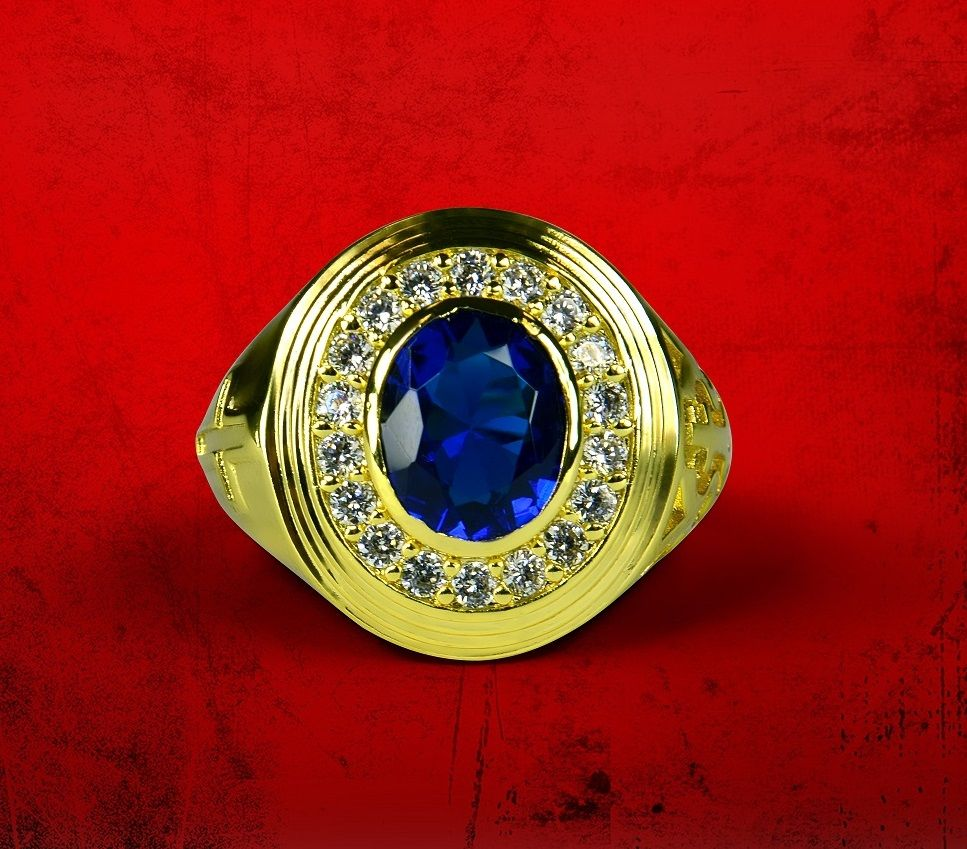 Mens Premium Clergy Ring with Royal Stone - Gold w/ Royal