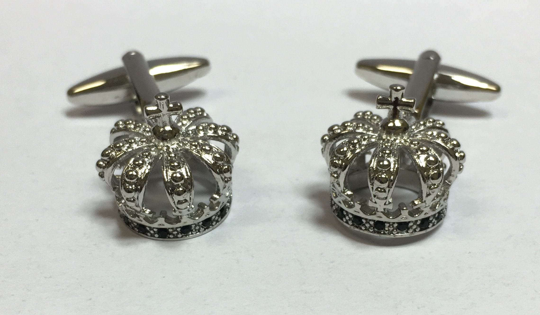 *Silver Religious Superior Crown Cross Cufflinks