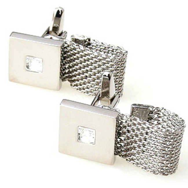 2 Pc. Chain Wrap-Around Square Cufflinks with a Crystal Stone - SILVER