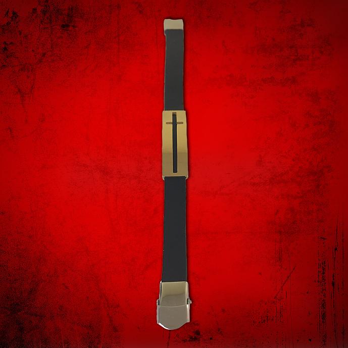 Cross Bracelet Black with Gold Slidable Cross