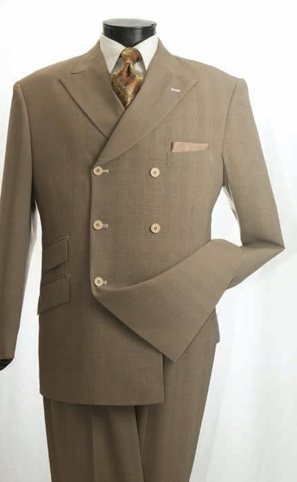 Men's Double Breasted Deluxe Fashion 2 Pc. Suit Mustard