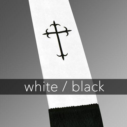 Clergy Stole - White Satin with Black Latin Crosses