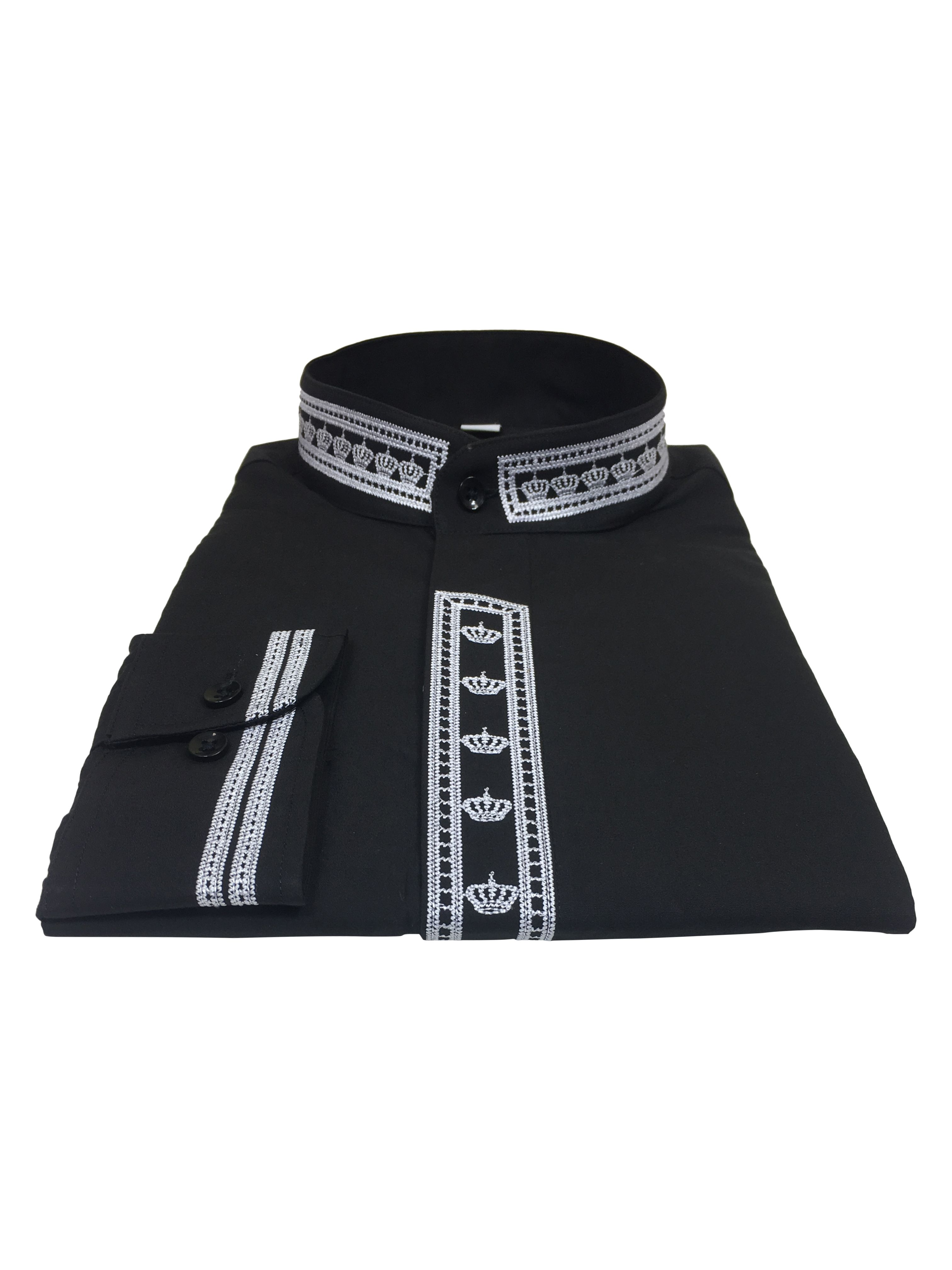 341. Men's Clergy Shirt With Rejoice Crown Fine Embroidery Long Sleeves- Black/White