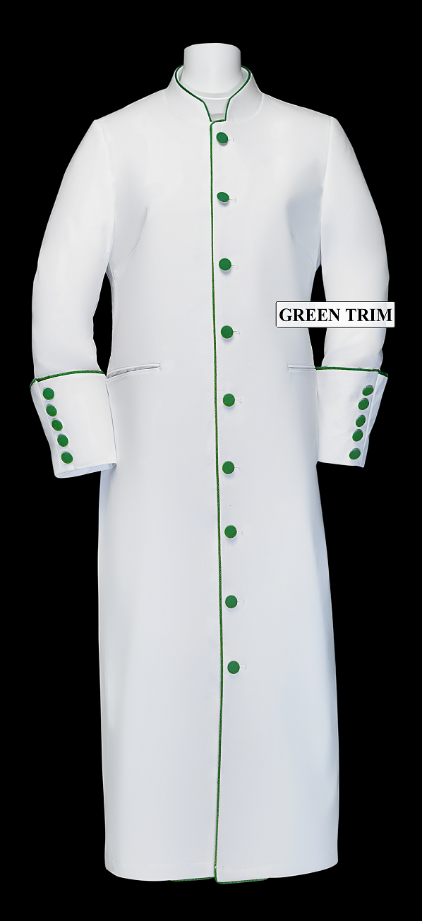 167 W. Women's Clergy/Pastor Robe - White/Emerald Trim