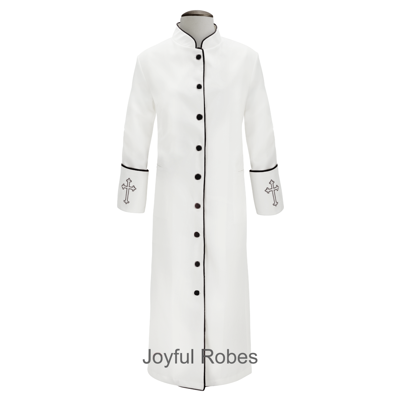 202 W. Women's Clergy/Pastor Robe - White/Black Design