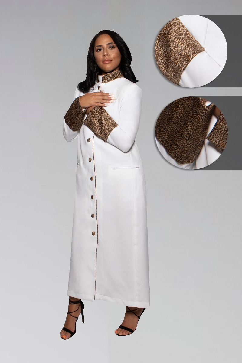 Suit Avenue Exclusive Women's Clergy Robe - White with Exotic Print