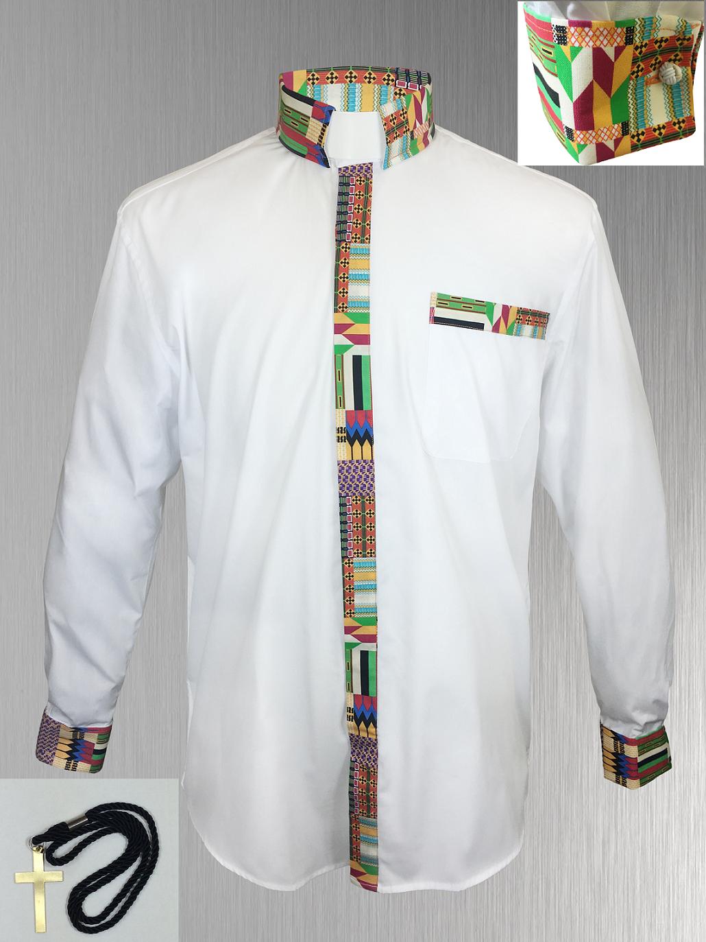 147. Custom Edition Kwangali Cloth Men's Tab Collar Clergy Shirt Set - White