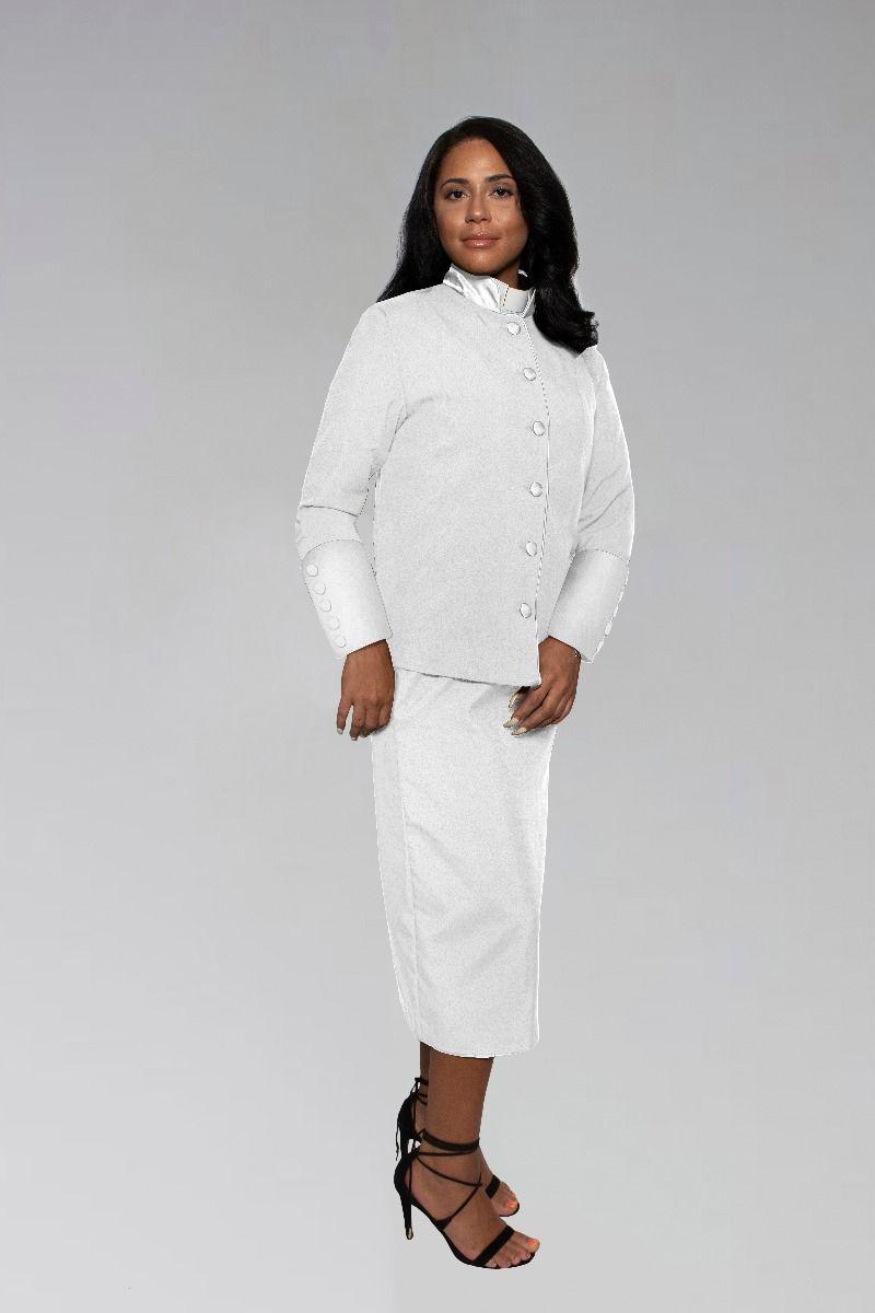 Ladies White Preacher Clergy Suit
