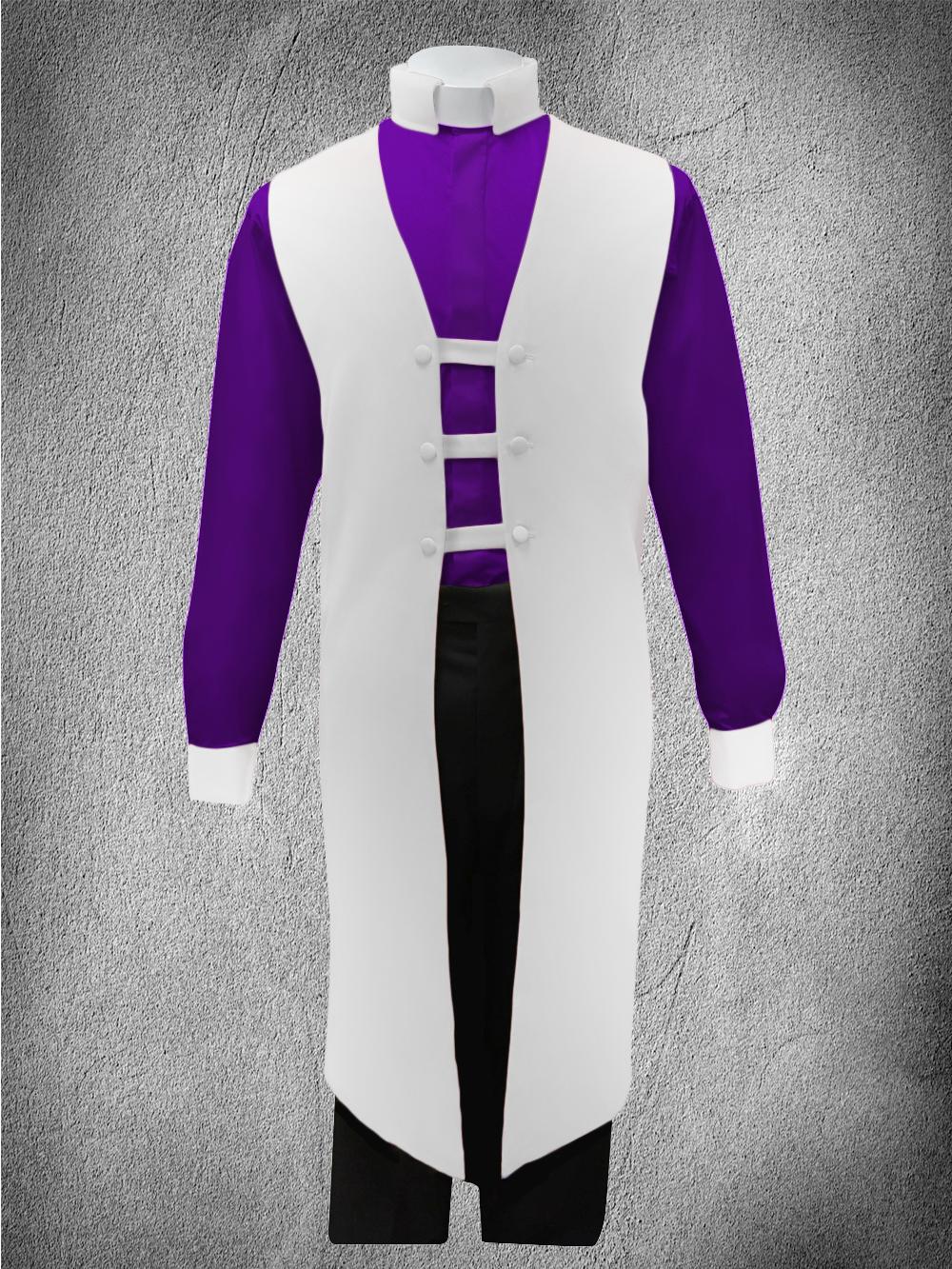 Contrast Ministerial Vesture Set White/Purple-White