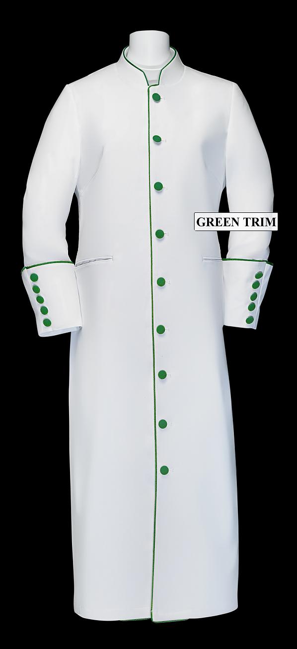 167 W. Women's Clergy/Pastor Robe - White/Emerald Trim
