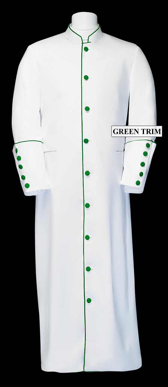 167 M. Men's Clergy/Pastor Robe - White/Emerald Trim