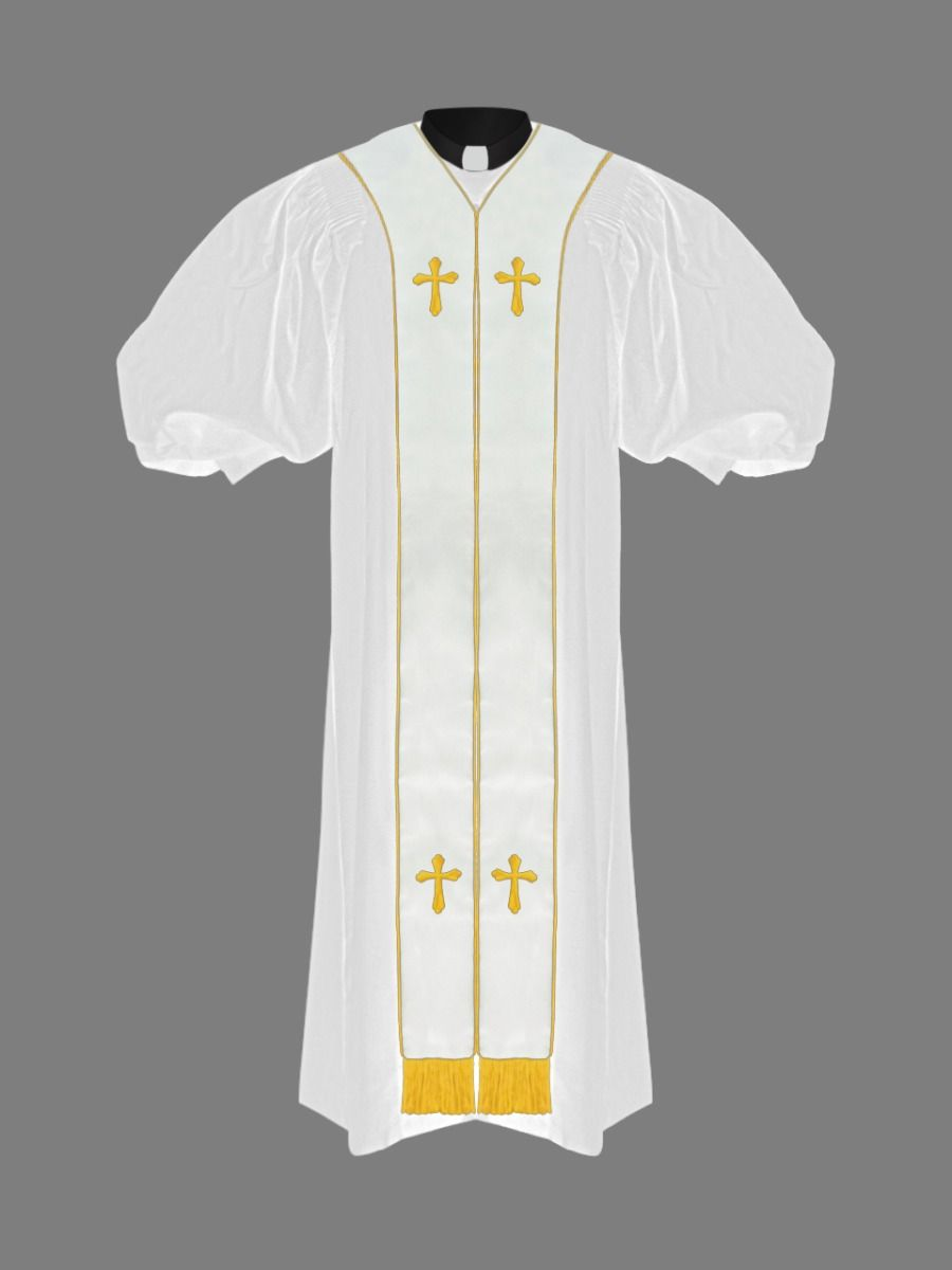Pulpit Minister's Robe in White & Gold