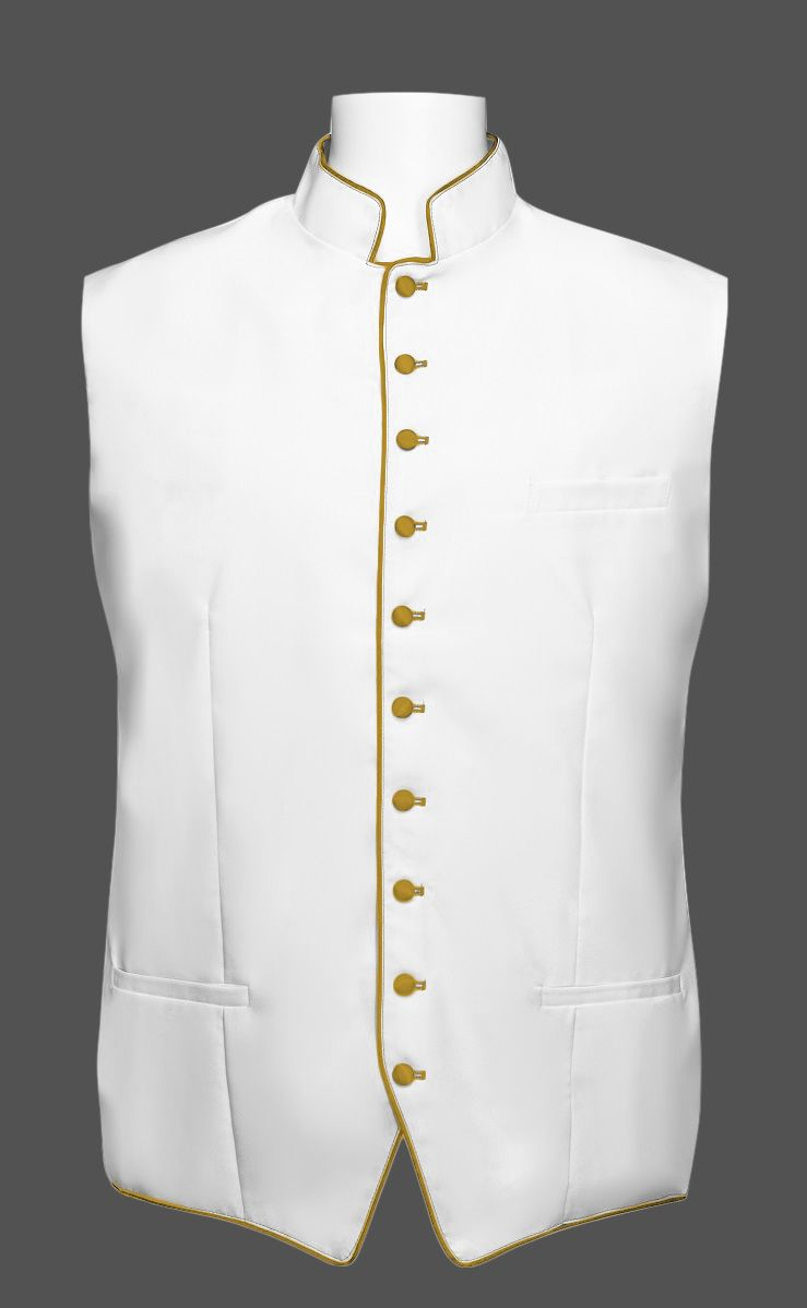 Men's Classic Clergy Vest - White/Gold