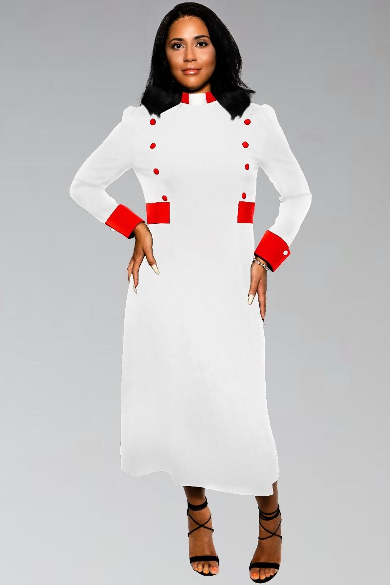 Modern Priest Clergy Dress in White with Red Clergy Collar