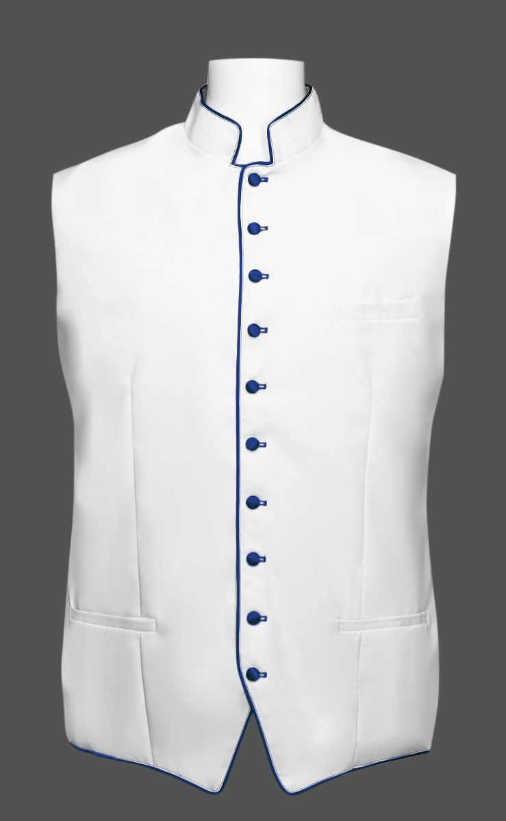 Men's Classic Clergy Vest - White/Royal