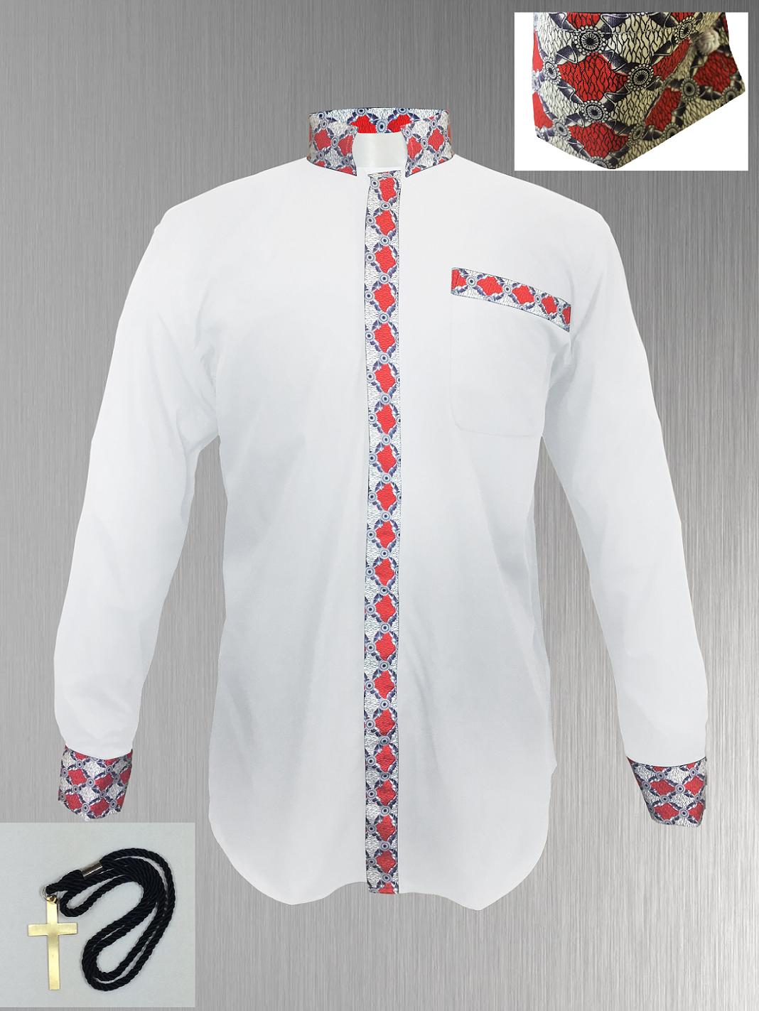 145. Custom Edition Meraki Argyle Men's Tab Collar Clergy Shirt Set - White