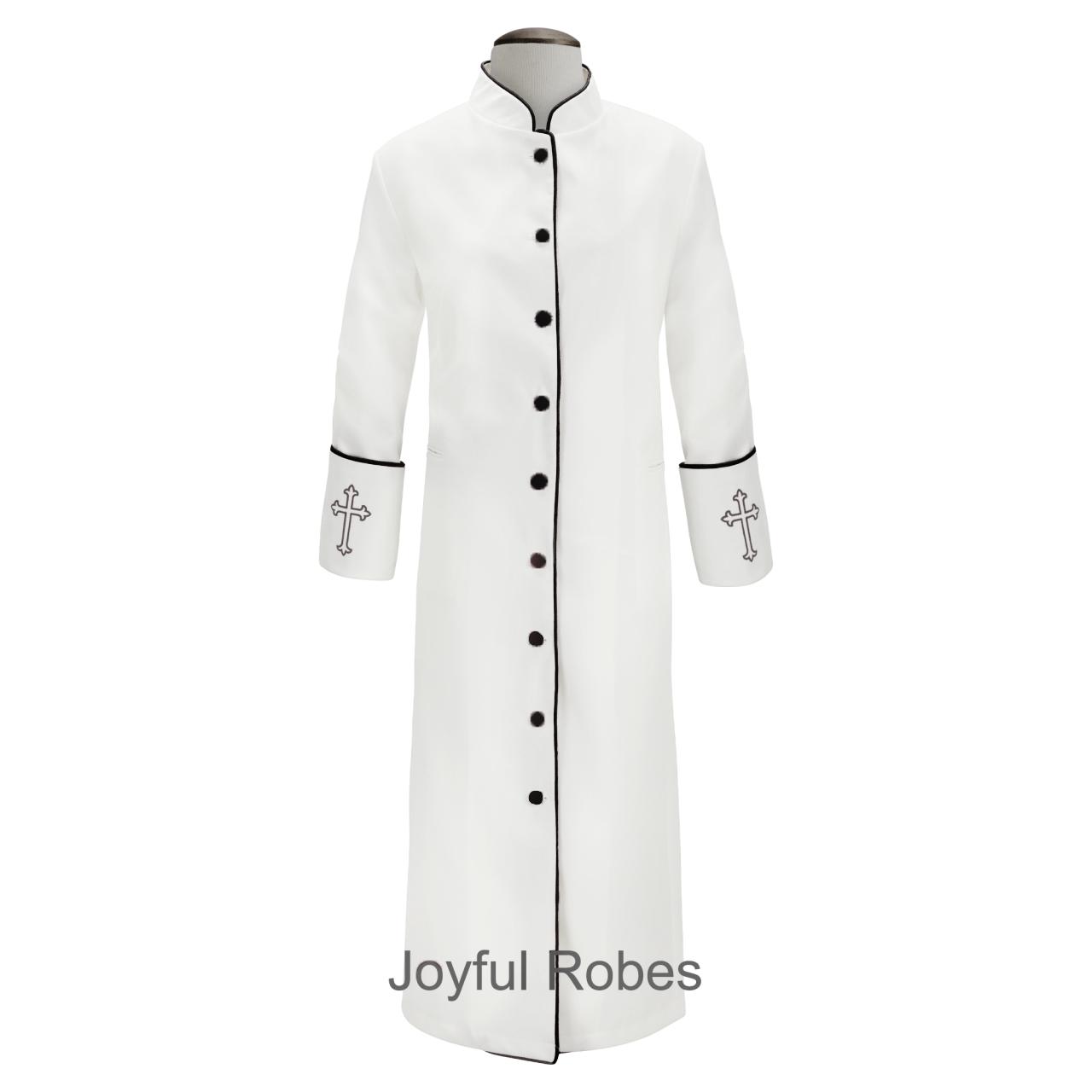 202 W. Women's Clergy/Pastor Robe - White/Black Design