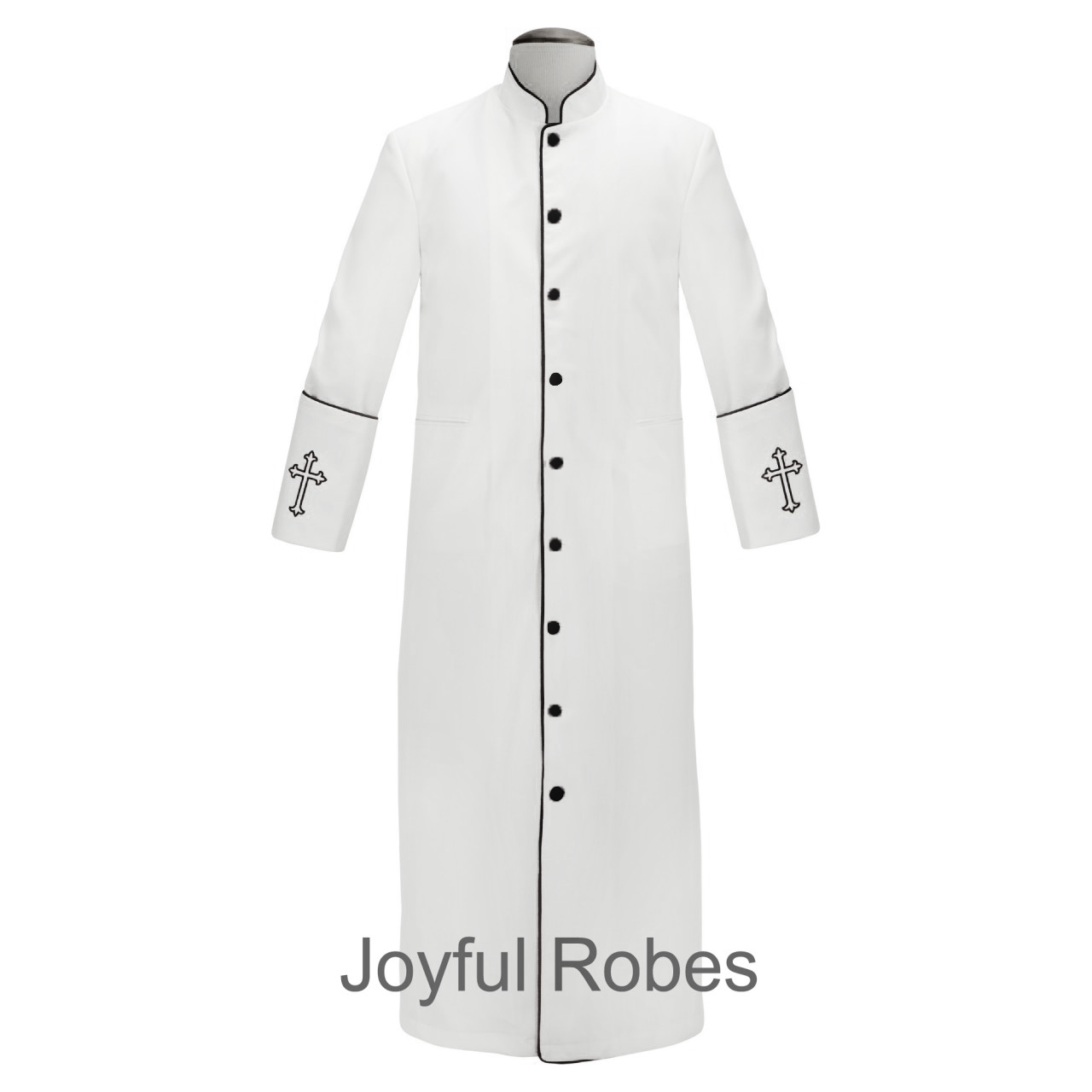 202 M. Men's Clergy/Pastor Robe - White/Black Design Design