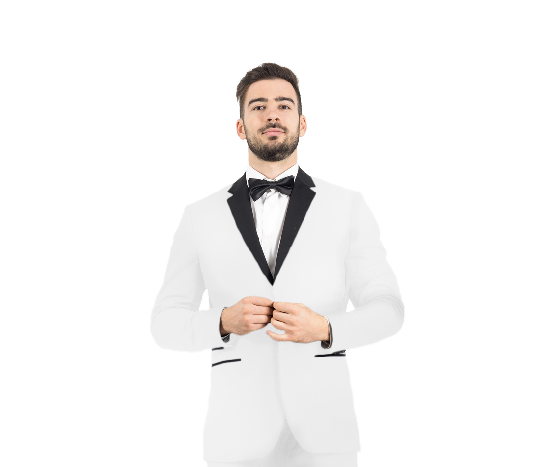 Men's 2-Button Tuxedo - White with Black Lapel