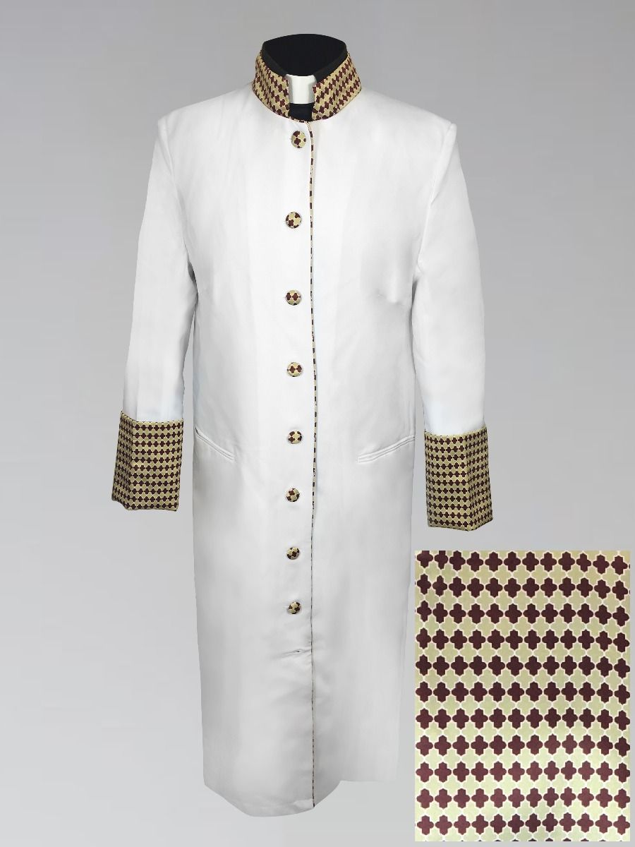 821 W. Women's Clergy Robe - White with Custom Holiday Theme Brocade