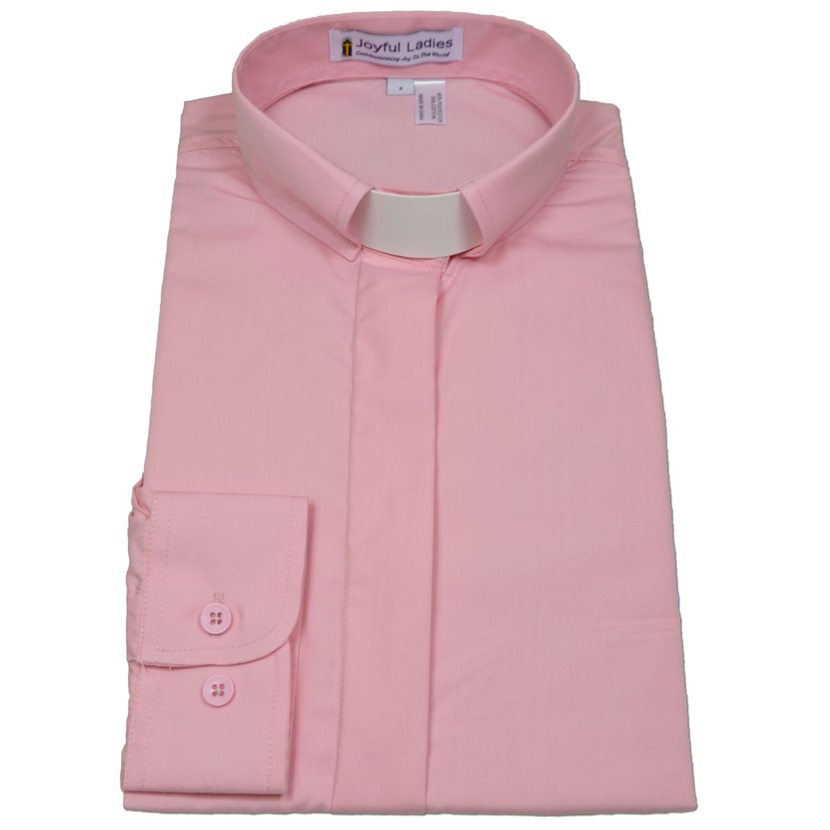 529. Women's Long-Sleeve Tab-Collar Clergy Shirt - Pink