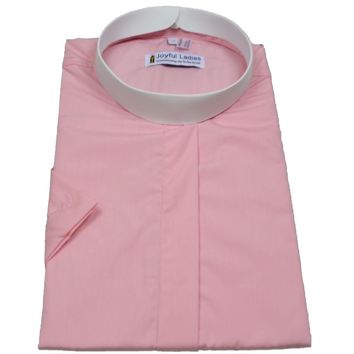 679. Women's Short-Sleeve (Banded) Full-Collar Clergy Shirt - Pink