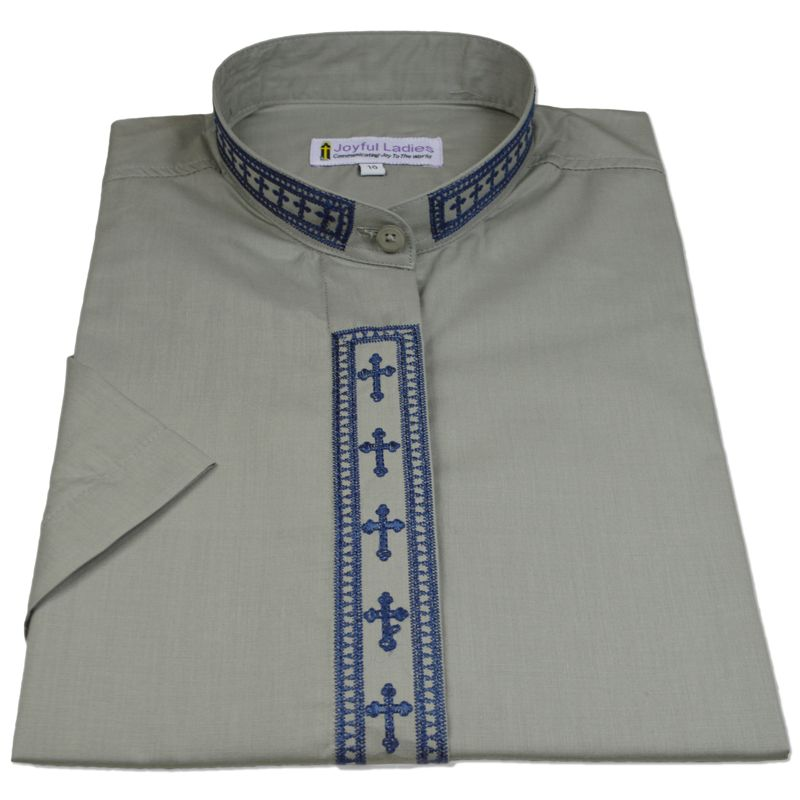 763. Women's Short-Sleeve Clergy Shirt With Fine Embroidery - Silver/Navy