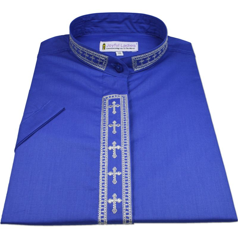 764. Women's Short-Sleeve Clergy Shirt With Fine Embroidery - Royal/Silver